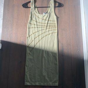 Bebe Olive green stretchy nylon dress